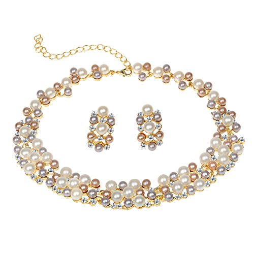 EVBEA Pearl Wedding Jewelry Set Affordable Gold Plated Faux Pearl Layered Statement Necklace and Earrings Set(S17)