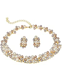 Wedding Jewelry Sets Pearl Bridal Necklace Sets for Women Elegant Necklace Earring Set