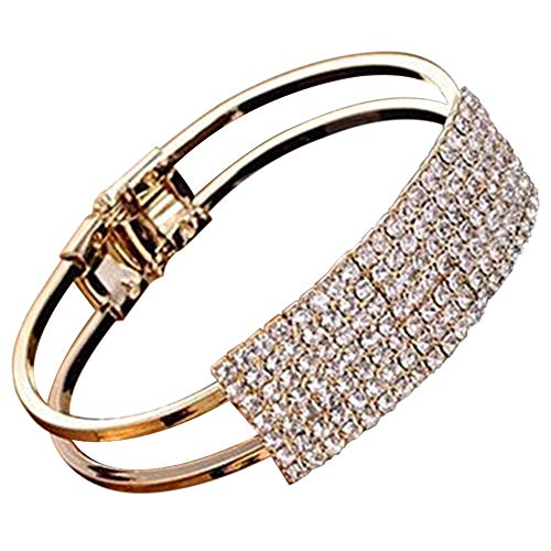 Refaxi Crystal Bracelet For Women Rhinestone Charm Bridal Wedding Jewelry Birthday Gift (Gold)