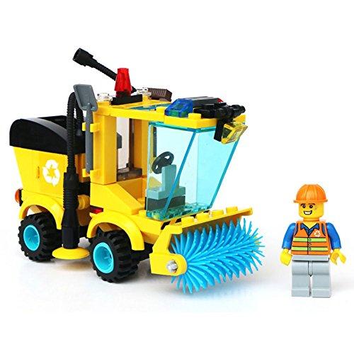 gonggamtop 102pcs Street Garbage Sweeper Kid Truck Assembly Toy Blocks Trash Sanitation Car