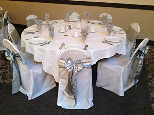 SPRINGROSE 50 Silver Wedding Satin Chair Sashes. These Are a Wonderful Decoration for Your Chairs. Be Sure and Add Them to Your List of Party Supplies.