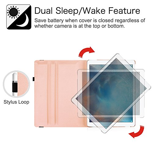 Fintie iPad Pro 12.9 Case - 360 Degree Rotating Stand Case with Smart Cover Auto Sleep / Wake Feature for Apple 12.9-inch iPad Pro (2015 Version), Rose Gold Photo #6