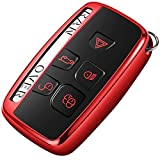 Intermerge Key Fob Cover for Range Rover Evoque Velar Sport Discovery Freelander2 LR4 Land Rover Sport and Jaguar XF XJ XE F-PACE F-Type 5-Buttons,Premium Soft TPU Protective Key Fob Case,Red