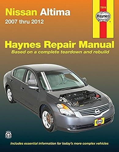 nissan altima 2007 2012 repair manual haynes repair manual rh amazon com nissan altima 2007 owner's manual 2007 nissan altima hybrid service manual