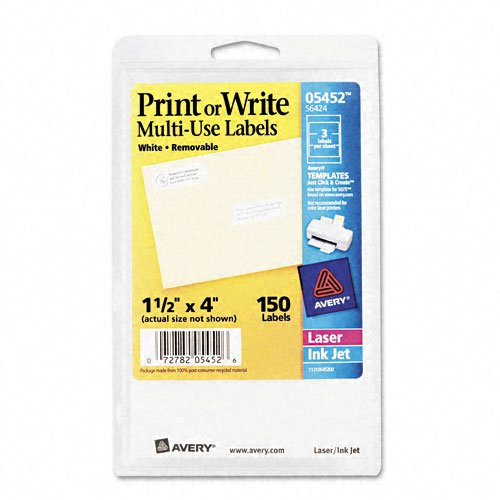 Avery Self-Adhesive Removable Labels, 1.5 x 4 Inches, White, 150 per Pack (05452) -
