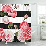 Black and Hot Pink Shower Curtains Emvency Shower Curtain Colorful Floral Peony Roses Black White Stripes Flowered Shower Curtains Sets Hooks 72 x 72 Inches Waterproof Polyester Fabric