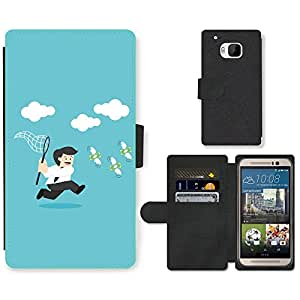 Hot Style Cell Phone Card Slot PU Leather Wallet Case // M99999726 Businessman Hunting For Money // HTC One M9