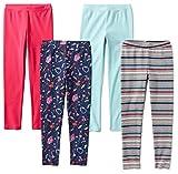 Spotted Zebra Big Girls' 4-Pack Leggings, Candy, M