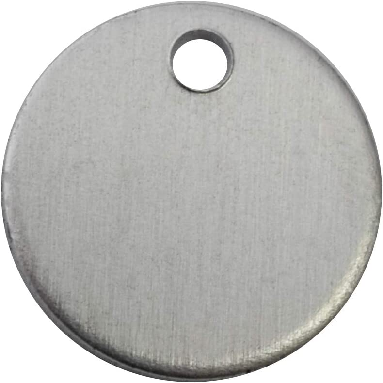 Aluminum 0.063 Inch 14 Ga. 5//8 Inch Round with Hole PVC on Both Sides RMP Stamping Blanks 50 Pack
