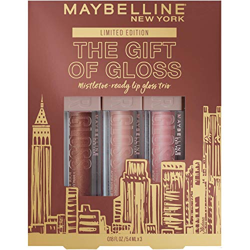 Maybelline The Gift Of Gloss: 3-piece Lip Lifter Gloss Holiday Kit, Lip Makeup Set for Hydrated Lips. Formula With Hyaluronic Acid, Lip Lifter 3-Piece Kit