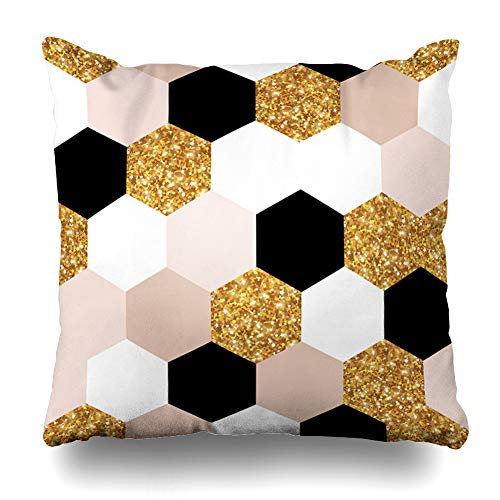 (AlliuCoo Throw Pillow Covers Pink Chic Abstract Geometric Pattern Gold Swatch Christmas Nude Rose Geometry Black Holiday Home Decor Zippered Cushion Case Square Size 18
