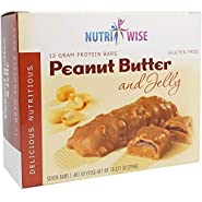 NutriWise - Peanut Butter & Jelly Bars | Gluten Free Diet Nutrition Bars | High Protein, Low Fat, Cholesterol Free (7/box)