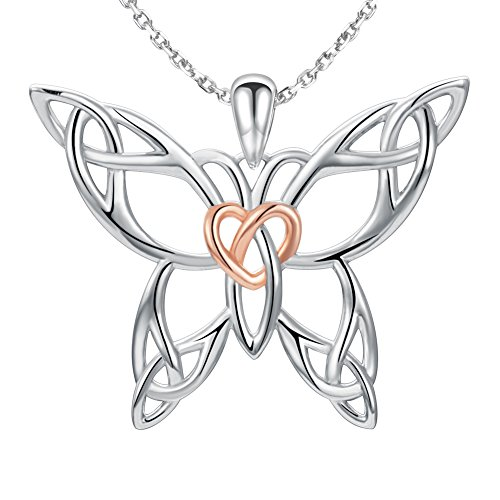 Animal Butterfly Necklace - MANBU 925 Sterling Silver Celtic Knot Charm Butterfly Heart Pendant Necklace Animal Gifts for Women