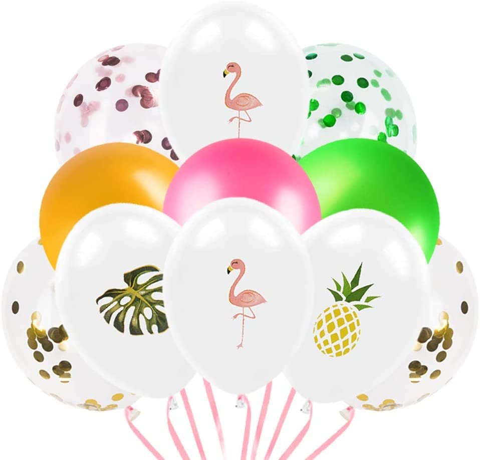 WERNNSAI Hawaiian Tropical Flamingo Party Decorations - Pack of 45PCS Palm Leaves Pineapple Flamingo Confetti Latex Party Balloons for Birthday Baby Shower Wedding Party Supplies