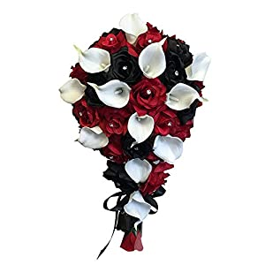 Angel Isabella Build Your Wedding Package-Artificial Flower Bouquet Corsage Boutonniere Rose Calla Lily Red White Black Wedding Theme (Long Cascade Bouquet) 1