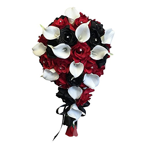 Angel Isabella Build your wedding package-Artificial Flower Bouquet corsage boutonniere rose calla lily Red White Black wedding theme (Long Cascade Bouquet)