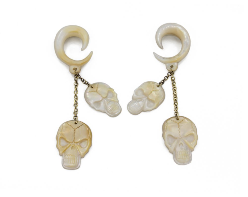 Elementals Organics Pirate Skulls Mother of Pearl Large Gauge Dangle Earrings - Price Per 2-2.5mm~10g