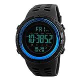 SKMEI Reloj Digital Deportivo, Doble hora, Timer, Cronómetro, Luz, Resistente al Agua, Alarma y fecha Modelo 1251 - Azul