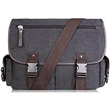 AB Earth Vintage Canvas School bag Messenger Bag, M707Darkgreen