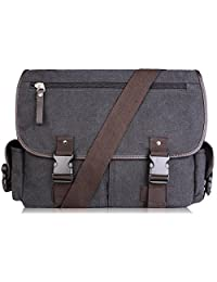 AB Earth Vintage Nylon School bag Messenger Bag, M707Darkgrey