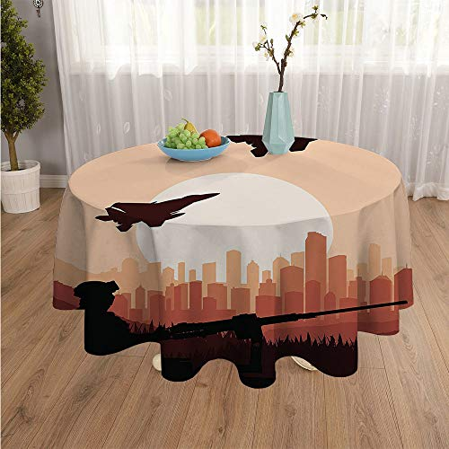 SATVSHOP Decorative Print Polyester Round Tablecloth-60Inch-Waterproof Fabric Table Cloth.War Home Soldier Shadow with Weapon Warplan and Skyscraper Epic Landscape at Sunrise Orange. (Best Weapons In Rise Of Iron)