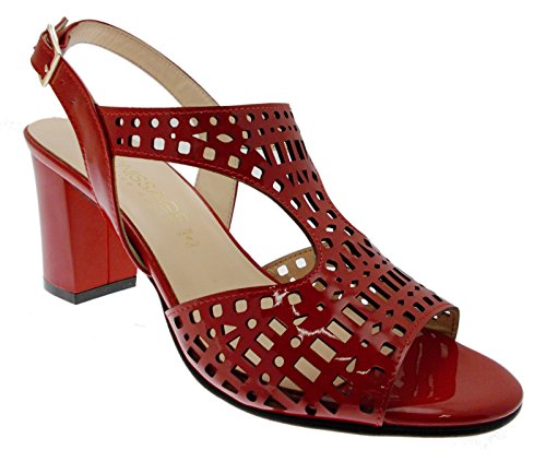Soffice Sogno 8130 Accented red Sandal Dance Leather red Paint 39 cYtxgT