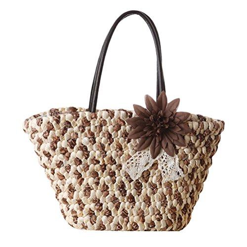 Zhuhaitf Ventas calientes Summer High Quality Womens Fashion Flower Handbag Straw Bag Woven Beach Bags Vacation Brown