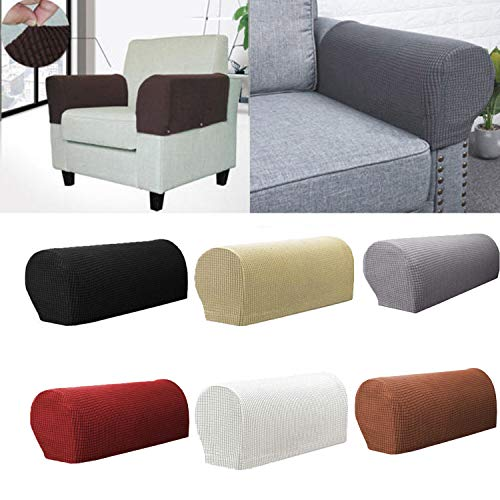 Oasiss Spandex Stretch Armrest Covers,Jacquard Anti-Slip Elastic Sofa Armchair Slipcovers Furniture Protector Set of 2 (Coffee)
