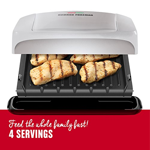 George Foreman 4-Serving Removable Plate Grill and Panini Press, Platinum, GRP1060P by George Foreman (Image #2)