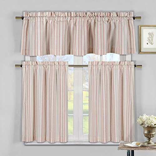 (Duck River Textiles  - Xandra Cabana Striped Linen Textured Kitchen Tier & Valance Set   Small Window Curtain for Cafe, Bath, Laundry, Bedroom - (Tangerine))