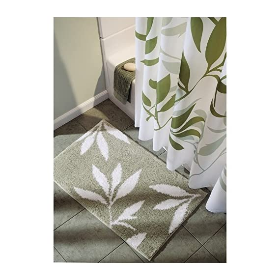 """iDesign Leaves Microfiber Polyester Bath Mat, Non-Slip Shower Accent Rug for Master, Guest, and Kids' Bathroom, Entryway, 34"""" x 21"""", Green and White - HIGH QUALITY FABRIC: Made of 100% microfiber polyester, this non-slip shower rug adds modern and chic style to your master bathroom, kitchen, kids' bathroom, guest bathroom, office, craft room, and other places in your home. The classic leaf design looks great with any decor STURDY: Stays in place throughout the day with a non-skid, no-slip backing EASY MAINTENANCE: This bathroom rug is machine washable and hangs dry for easy cleaning - bathroom-linens, bathroom, bath-mats - 51i1ns GiAL. SS570  -"""