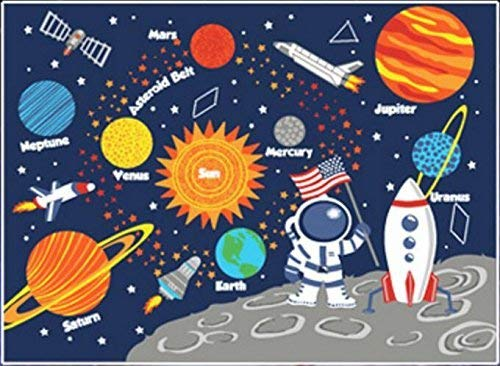 HUAHOO Kids Rug Educational Learning Carpet Galaxy Planets Stars Blue Children's Fun Area Rug Nursery Rugs Solar System Rectangle Rug (Stars, ()