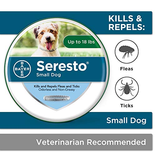 Seresto flea collar for dogs, 8-month flea and tick prevention for dogs up to 18 lbs