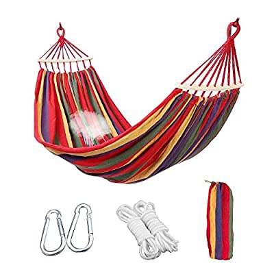 Aukee Camping Hammock, Striped Canvas Fabric Portable Garden Hammocks Ultralight Outdoor Beach Swing Bed with Strong Rope+Stuff Sack(78.74''× 59.05'',Red Stripes, Double) -  - patio-furniture, patio, hammocks - 51i1oEVRh9L. SS400  -
