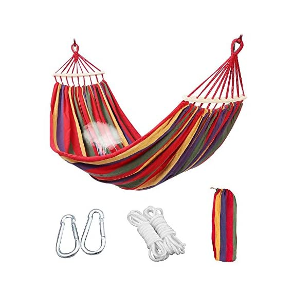 Aukee Camping Hammock, Striped Canvas Fabric Portable Garden Hammocks Ultralight Outdoor Beach Swing Bed with Strong Rope+Stuff Sack(78.74''× 59.05'',Red Stripes, Double) -  - patio-furniture, patio, hammocks - 51i1oEVRh9L. SS570  -