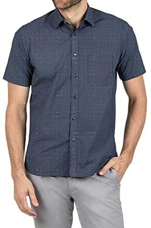 Blazer Men's Jerry Short Sleeve Printed Shirt, Navy, S