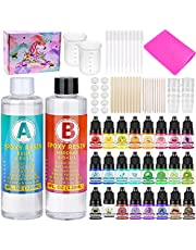 Resin Pigment Liquid Craft Supplies,Epoxy Resin Art Starter Kit with 24 Assorted Color Pigment Dye, Crystal Clear Epoxy Resin, Silicone Mat, Tools Accessories for Tumblers Jewelry Making Casing Molds