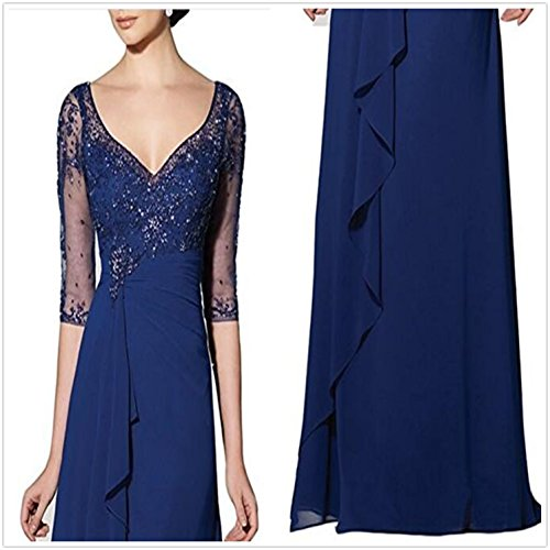 Damen V Braut Violett Applikation Sleeve emmani Chiffon Kleid Neck 's Long Mutter OdqWx1