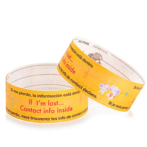 Child Travel ID Bands, Waterproof Write-On Safety ID Bracelets for Kids, One Size Fits All, Pack of 12