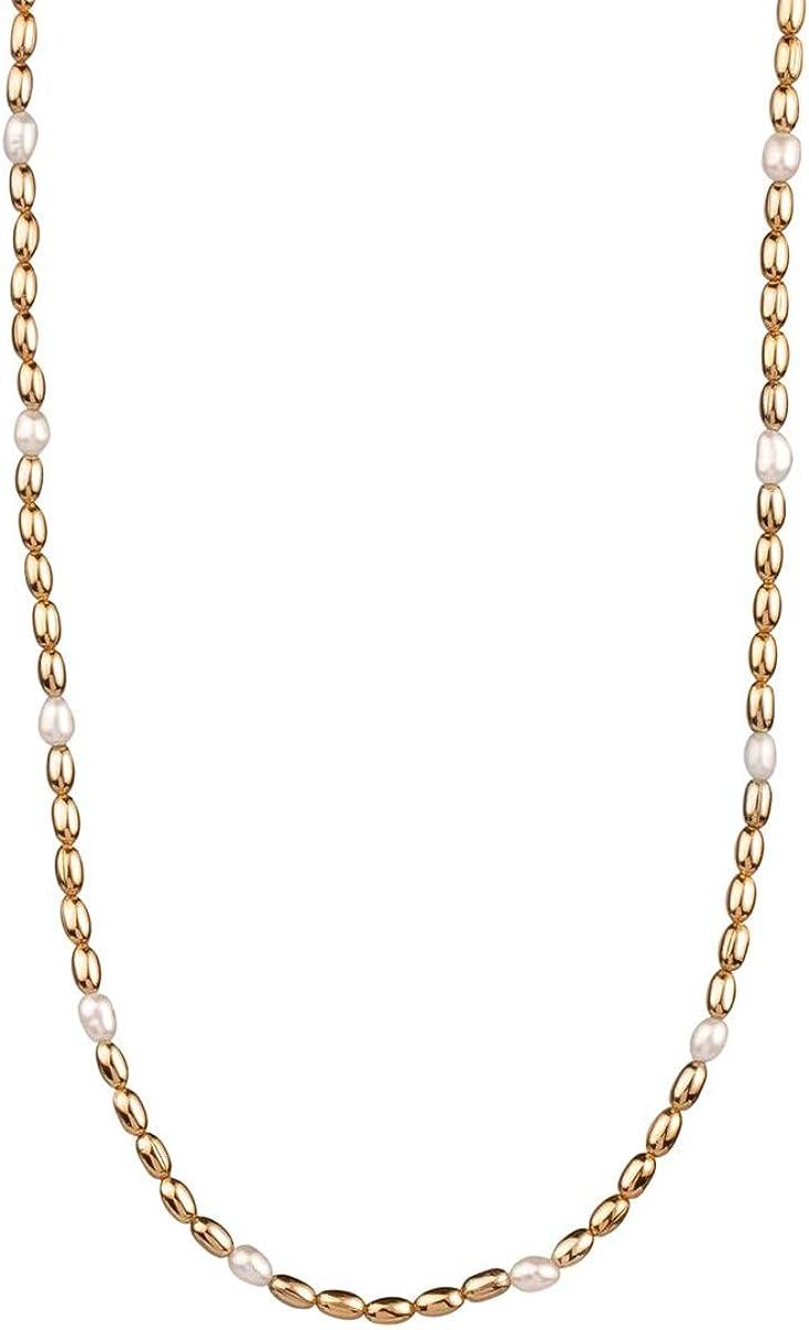 VIDAL & VIDAL Collar Mujer Bolas chapadas en Oro con Perla intercaladas