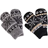Knit Mittens Women's Winter Snowflake Sherpa Lined Gloves,2 Pairs,Black/Dark Grey