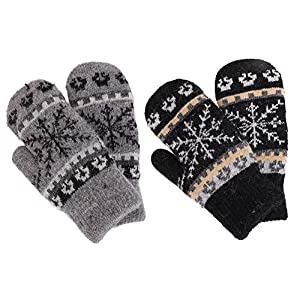 Women's Winter Fair Isle Knit Sherpa Lined Mittens – Set of 2 Pairs