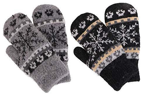 Winter Snowflake Sherpa Lined Gloves,2 Pairs,Black/Dark Grey ()