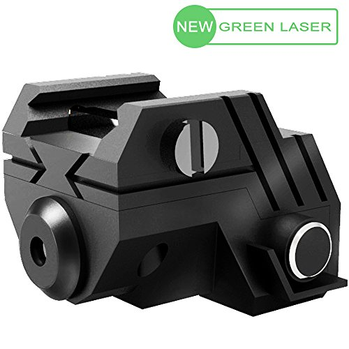 USA LASPUR Mini Sub Compact Tactical Rail Mount Low Profile Green Dot Laser Sight with Build-in Rechargeable Battery for Pistol Rifle Handgun Gun, Black - M4 Trigger Guard