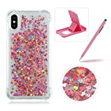 Liquid Case for iPhone X,Soft TPU Glitter Case for iPhone X,Herzzer Luxury 3D Sequins Creative Rose Gold Love Hearts Design Floating Quicksand Sparkly Crystal Anti Scratch Drop Resistant Clear Rubber Back Case