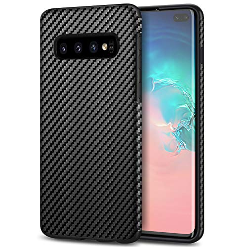 Fiber Carbon Galaxy - Tasikar Galaxy S10 Plus Case with Carbon Fiber Leather and Soft TPU Design Easy Grip Slim Case Compatible with Samsung Galaxy S10+ (Black)