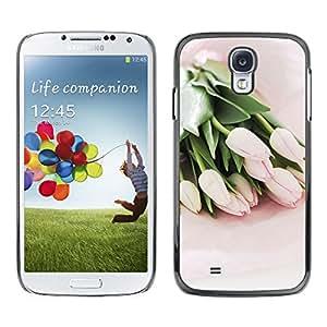 Paccase / SLIM PC / Aliminium Casa Carcasa Funda Case Cover para - Tulips Watercolor Green Flowers Pink - Samsung Galaxy S4 I9500