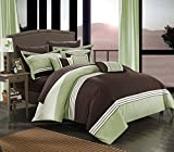 Chic Home CS3242-AN 10 Piece Hotel Collection Bed In a Bag Queen Comforter Set With sheet set, Green, Queen