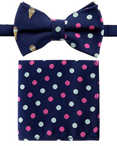 Canacana Sweet Ice Cream Woven Microfiber Pre-tied Boy's Bow Tie with Polka Dots Pocket Square Gift Box Set - Navy Blue - 24 months - 4 years, Christmas gift