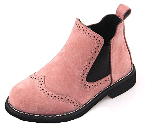 Hoxekle Fashion Kid MID Boots Rubber Anti-slip Elastic Comfort Boys Girls Boots Students Walking Shoes Pink 9 M US (Ugh Boots Kids)